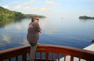 Raja Ampat Cap'n Jimmy watching the world go by Banda style