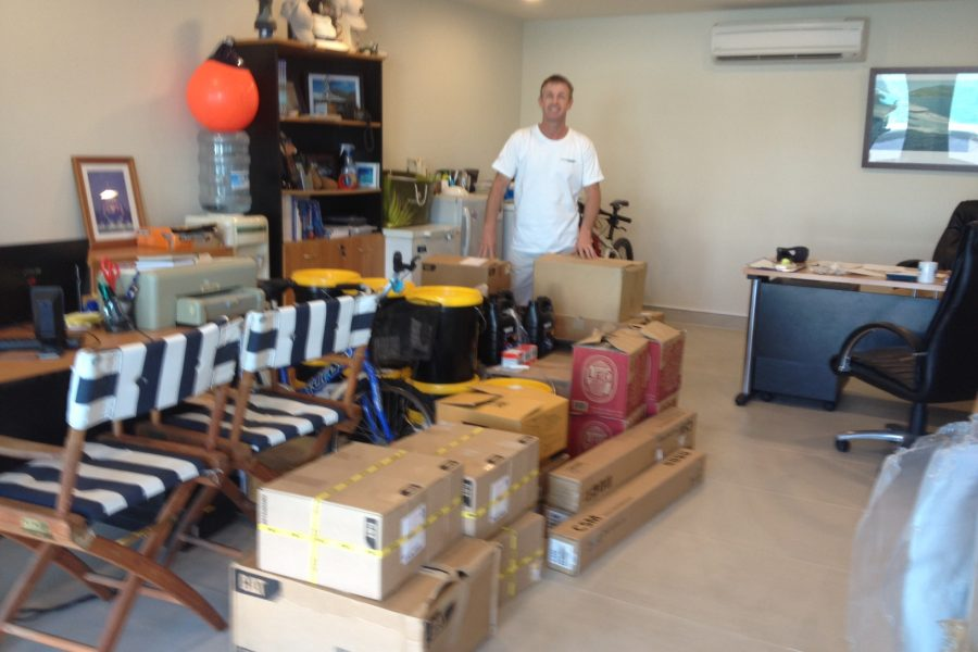 APS Phuket sorting parts for delivery in one of their Marina offices