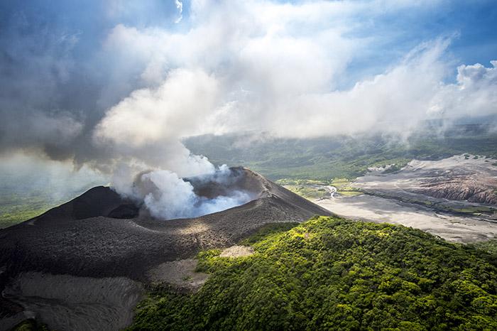 Aerial view of Barren Volcano, Andaman Islands, India